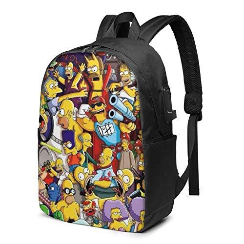 Der Simpsons Laptop-Rucksack - mit USB-Ladeanschluss/stilvollen lässigen Wasserdichten Rucksäcken passt für die meisten 17/15,6-Zoll-Laptops