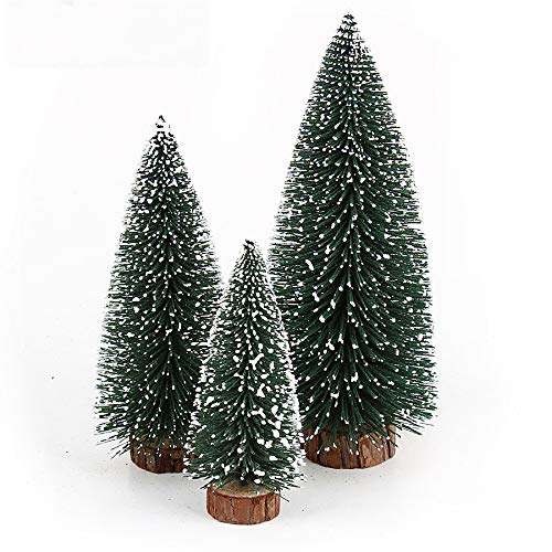 STOBOK Mini Artificial Christmas Tree Frosted Christmas Tree Desktop White Cedar - 6pcs