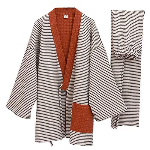 Trajes de estilo japonés para hombres sueltos y gruesos de invierno cálido Kimono pijama de traje rojo vino M