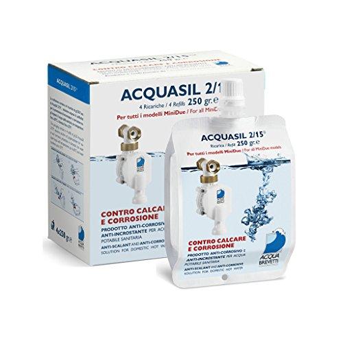 Acquasil 2/15 ricarica 4x250g anticorrosivo ed antincrostante pompe minidue PC100 acquabrevetti