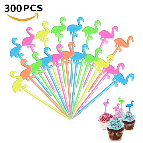 Minleer (300 Stück) Kunststoff bunte Flamingo-Picks, Cocktail-Plektren für Speisen und Getränke, Stäbchen für Hawaii-Partys, Strandpartys