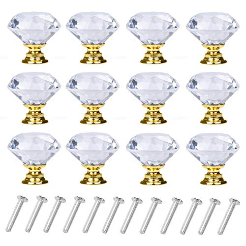 YourGift 12 Pack Drawer Knobs Diamond Shaped Crystal Glass 30mm Cabinet Knobs Pull Handles (Gold)