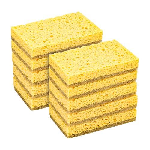 Phoetya 10 unidades de esponja de celulosa de limpieza de esponja natural para lavar platos esponja de cocina natural premium cero productos de limpieza