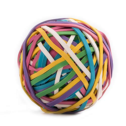 Amazon Brand - Eono Rubber Bands, Strong Elastic Band Ball Coloured, Document Organizing for Home and Office, Assorted Colors, Pack of 1