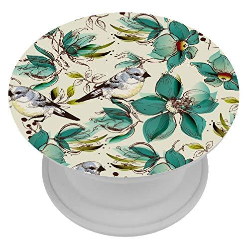 Yoliveya Ständer und Griff für Smartphones & Tablets, multifunktionale Handyhalterung, faltbar, Elster Vogel Blume