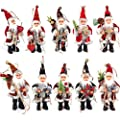QTMY 30 Pcs Christmas Tree Stocking Santa Claus Wooden Clip Hanging Photos with Twine Decoration Supplies Favors