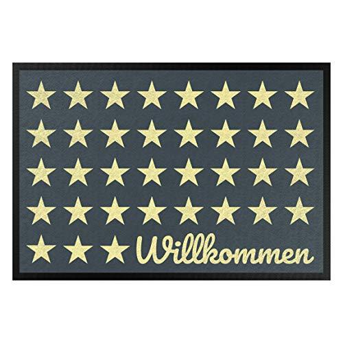 Bilderwelten Fußmatte Gummi Läufer Fußabtreter Willkommen Sterne Petrol gelb 50 x 70 cm