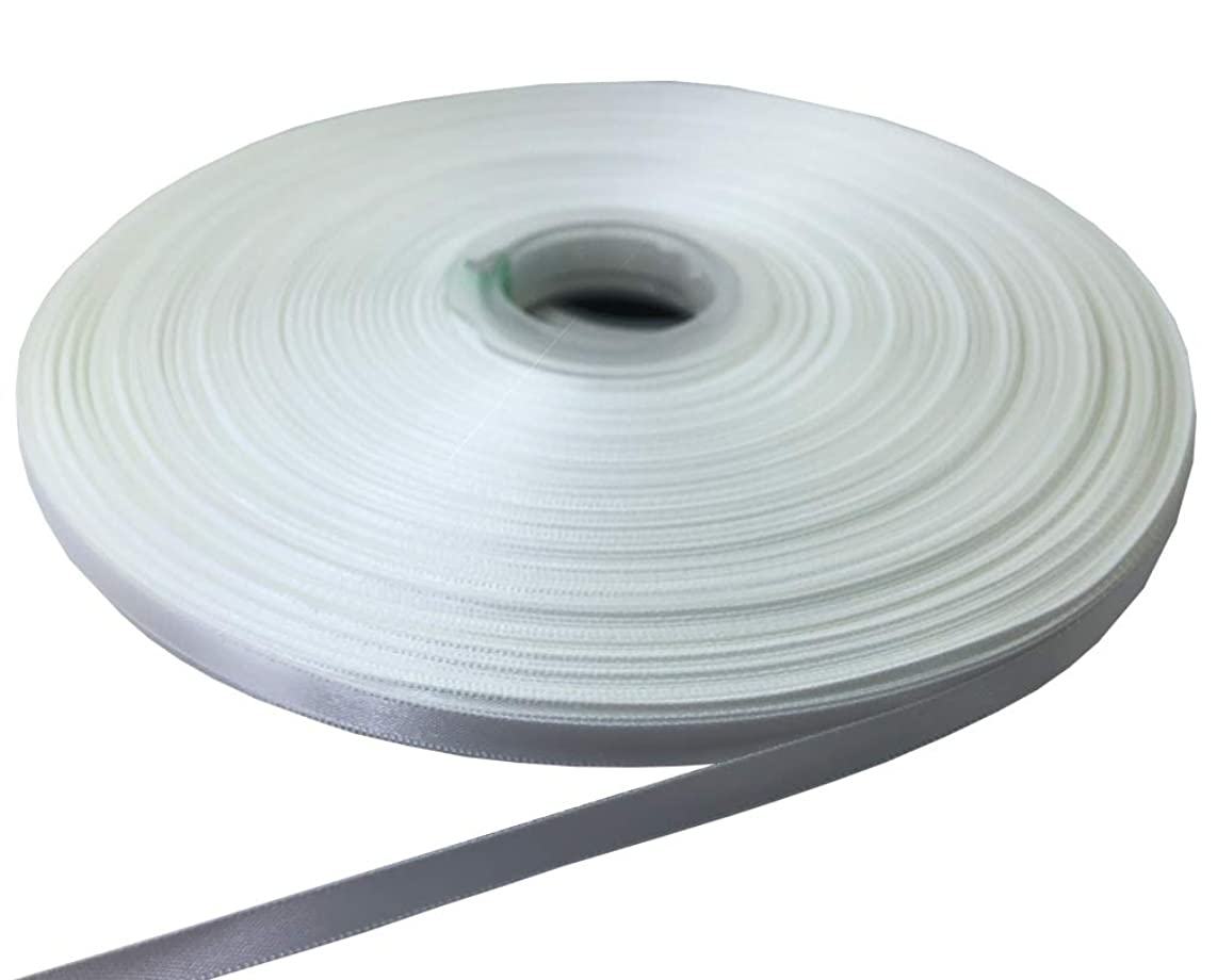 PartyMart 1/4 Inch Wide Polyester Double-Face Satin Ribbon, 100 Yds, White