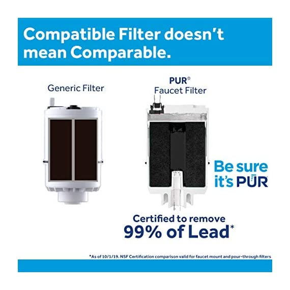 PUR RF3375 Water Filter Replacement for Faucet Filtration Systems, 2 Pack, Multicolor 4 PUR BASIC WATER FILTER REPLACEMENT: PUR's genuine faucet filters are certified to reduce over 70 contaminants, including 99% of lead, so you know you are drinking cleaner, great-tasting water FAUCET WATER FILTER: PUR faucet filters provide 100 gallons of filtered water, or 2-3 months of typical use, before you need a replacement. Only PUR faucet filters are certified to reduce contaminants in PUR faucet filter systems WHY FILTER WATER? Home tap water may look clean, but may contain potentially harmful pollutants & contaminants picked up on its journey through old pipes. PUR water filters, faucet filtration systems & water filter pitchers reduce these contaminants