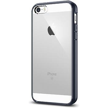 Spigen Ultra Hybrid für iPhone SE 2016/5S/5 Hülle Handyhülle Durchsichtige PC Rückschale mit Silikon Bumper Schutzhülle Case Metal Slate SGP10711