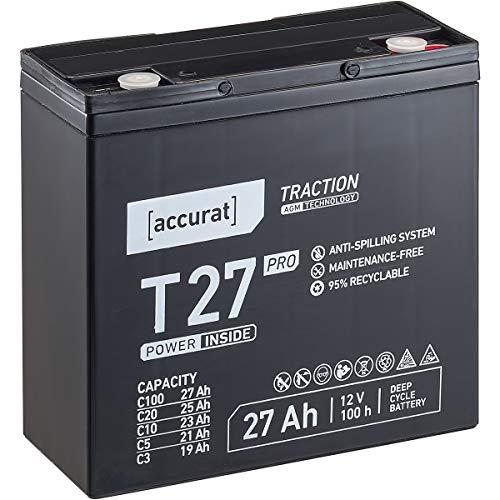 Accurat 12V 27Ah Blei-Akku AGM Blei-Batterie Zyklenfest Traction Pro-Serie VRLA Versorgungsbatterie T27 Pro (wartungsfrei)