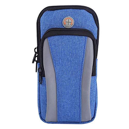 Leichte Lauftasche, wasserdichte Handy-Taillengurttasche, Outdoor-Sport-Fitness-Handgelenkstasche, Herren Damen 4-6-Zoll-Tasche-Blau