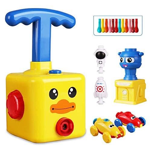 THATA Interessantes Lernspielzeug, aerodynamische Spielzeugautos, Ballonraketen mit Starttürmen, Trägheitsspielzeug für Ballonautos, Kraftspielzeug für Kinder über Zwei Jahre (mit 12 Ballons)