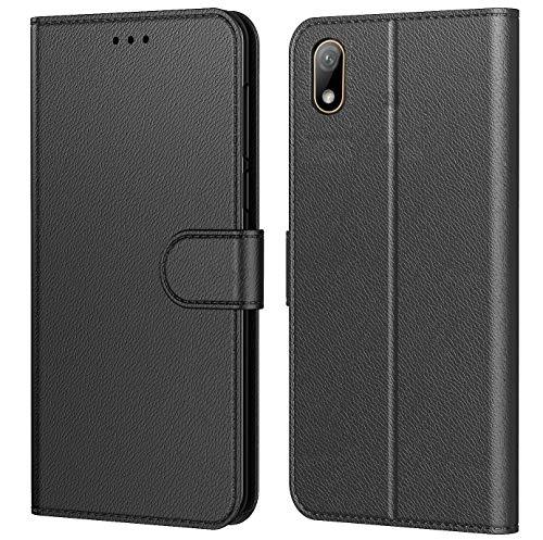 Tenphone Etui Coque pour Xiaomi Redmi 7A, Protection Housse en Cuir PU Portefeuille Livre,[Emplacements Cartes],[Fonction Support],[Languette Magnétique] pour (Redmi 7A (5,5 Pouces), Noir)