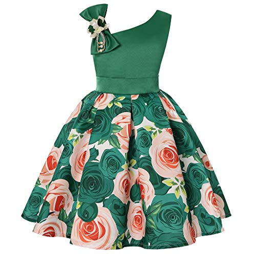 LEXUPE Blumenbaby-Prinzessin Bridesmaid Pageant Gown Birthday Party Wedding Dress(Grün,120/5)