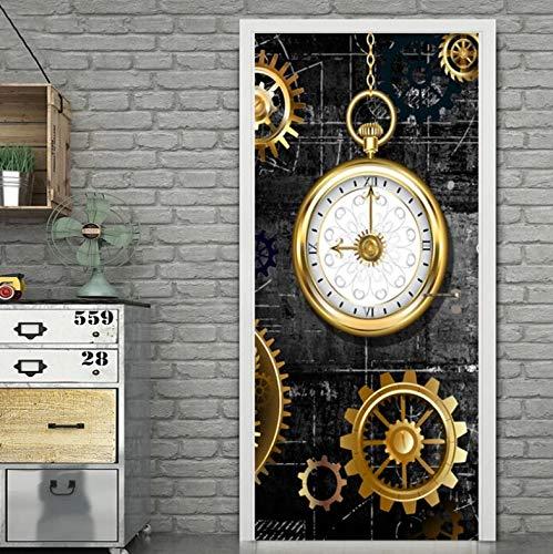 Papel Pintado Puerta 3D Estéreo Dorado Reloj Retro Cocina Comedor Puerta PVC Autoadhesivo Door Sticker Wallpaper Poster Art Decoration 90 x 200 cm