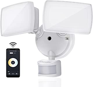 Ustellar 35W Smart Outdoor LED Security Light Tunable White 2 Head Adjustable Motion Sensor Warm...
