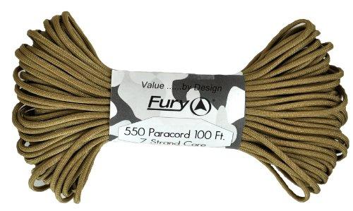 Fury Tactical Paracorde Type III 7 brins 2,7 kg, peau, 1/8-Inch x 100-Feet