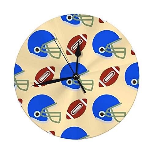 FETEAM Reloj de Pared Redondo Balones de fútbol Símbolo de fútbol Americano Juego Deportivo Forma de azulejo Decorativo para el hogar, la Oficina, la Escuela 9.8IN