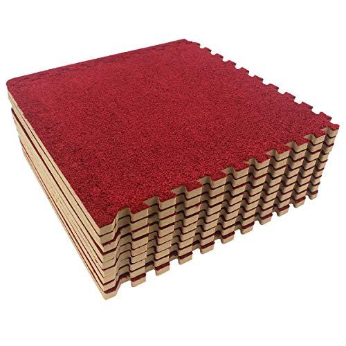 UMI. Essentials 30 x 30cm ineinandergreifende Kurzer Haufen Bodenmatten aus Schaumstoff (9-teiliges Set) (Burgund)