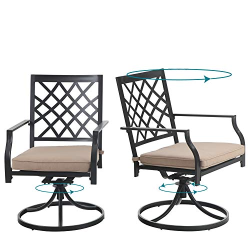 PHI VILLA Swivel Patio Chairs Set of 2 Outdoor Dining Rocker Chair Support 300 lbs for Garden Backyard Bistro Furniture Set with Cushion, Black