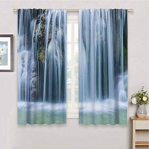 Waterfall Decor Black Out Window Curtain 2 Panel Massive Magnificent Cascaded Waterfall in Rain Forest with Intense Water Image Waterproof Fabric, W55 x L63 Inch, White