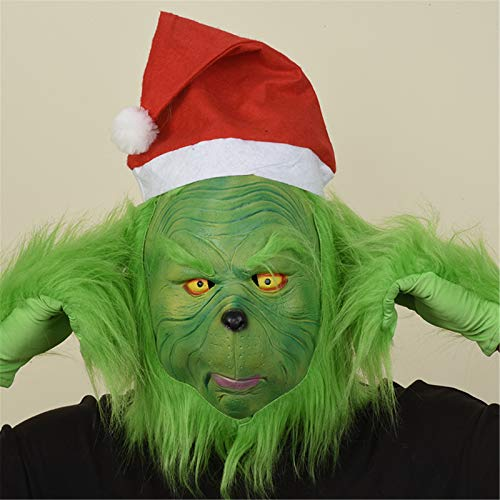 Yagerod Grinch Mask Costume Furry Green Santa Mask con Red Hat, Adulti Deluxe Grinch Stole Christmas Cosplay Guanto di Peluche Costume di Natale Head