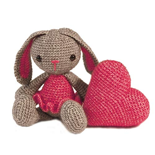 HardiCraft Ganchillo del Paquete Ganchillo Juego para Hacer sí con Instrucciones y Material para Conejos Pipa con corazón, Aprox. 20cm, Corazón 10x 10cm. Your Own Regalo