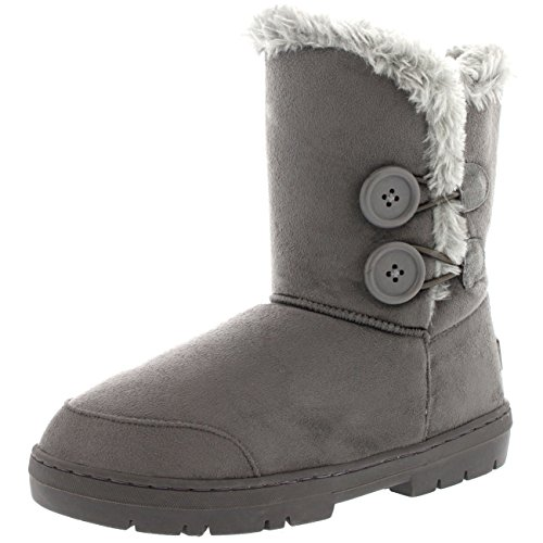Botas de invierno con doble botón, impermeables, para mujer, color Gris, talla 35.5
