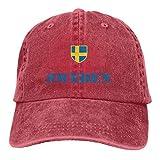 Hoswee Gorra de Béisbol Ajustable Sweden Flag Adult Custom Cowboy Outdoor Sports Hat Snapback Sombreros