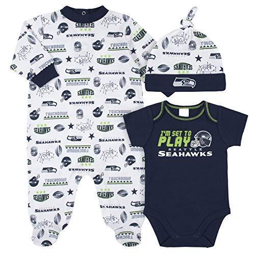 NFL Baby Boys 3 Piece Bodysuit, Sleep n Play and Cap Set, Boy Seattle...