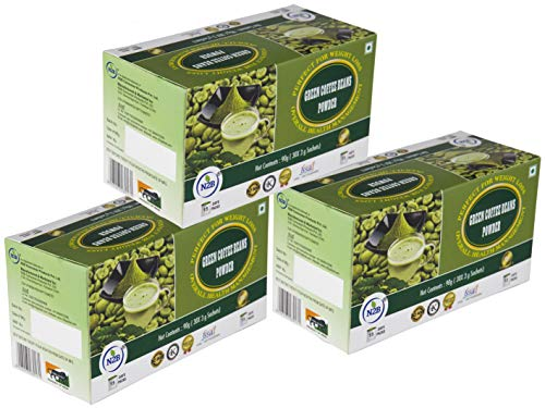 N2B Green Coffee Beans Powder for Weight Loss 30 sachets, 3g each per box – (Pack of 3)