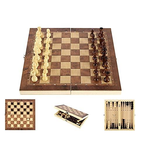 Ajedrez de Madera 3 en 1,Juego de Ajedrez Magnético,Ajedrez y Damas,Tablero de ajedrez portátil para Viajes, Juego de Mesa, Juguetes educativos para Adultos y niños