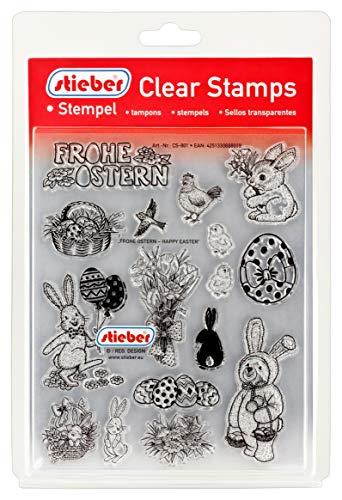 stieber Clear Stamps Transparente Stempel Sets (Bitte gewünschtes Motiv/Thema unten auswählen!) (Frohe Ostern - Happy Easter)