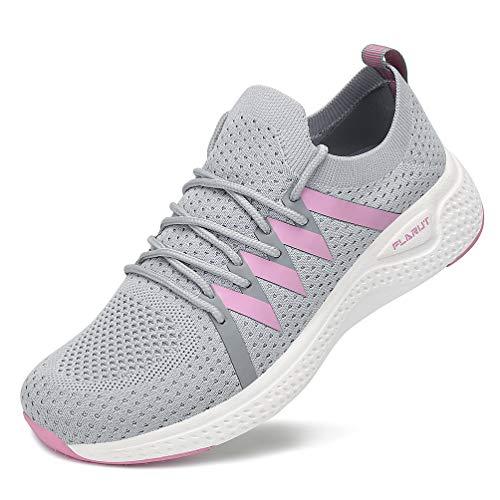 FLARUT Turnschuhe Damen Leichtgewichts Laufschuhe Atmungsaktiv Sportschuhe Straßenlaufschuhe Freizeit Schuhe für Outdoor Fitness Gym Sneaker Grau 38