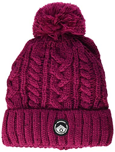 Superdry Gracie Cable Beanie Pasamontañas, Rosa (Cabaret Pink M6w), Talla Única (Talla del Fabricante: OS) para Mujer