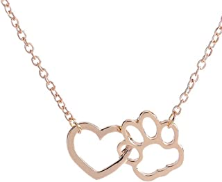 Challyhope Hot Sale 2018! Necklace For Women Girls, Fashion Love Heart Dog Paw Crystal Pendant Chain Personalized Jewelry