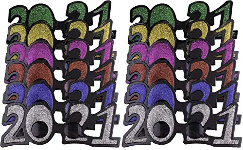 12 Pack of 2021 New Years Eve Party Glasses (Classic Glitter)