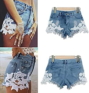 BEESCLOVER 2018 Women's Casual High Waisted Short Denim Shorts Hot Ripped Patchwork Mini Jeans Blue L