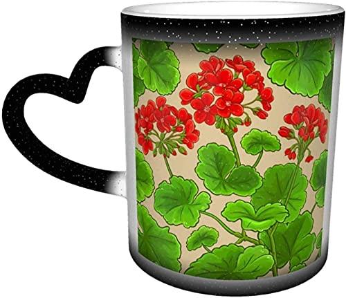 Tazze da caffè Rami di geranio Motivo Tazza sensibile al calore che cambia colore Tazza in cielo Tazza in ceramica Regali personalizzati per gli amanti della famiglia Amici