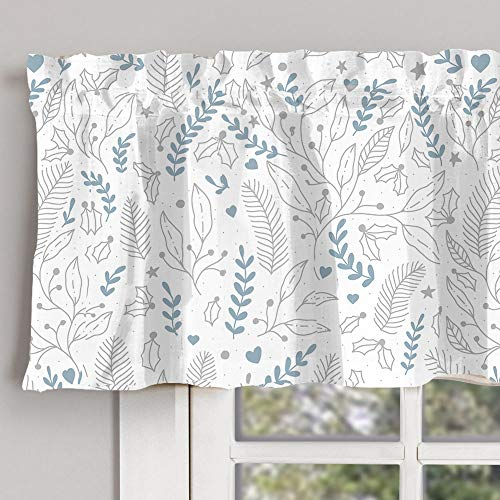 """INICEKEY Blue Gray Small folwer Printed Valance Curtains 17 inch Room Darkening Grey Kitchen Curtain Valances Living Room Leaf Print Triple Weave Bedroom,Rod Pocket 52""""x17""""+2"""" Header"""