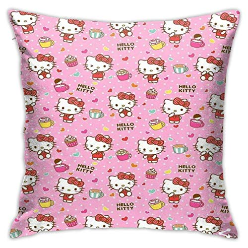 qidong Hello Kitty Pillowcase Covers 18x18 Decorative Sofa Car Soft