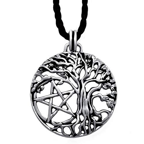 Collares Colgante Joyas Collar con Colgante De Árbol De Vida Pentagonal De Metal Retro para Hombre, Joyería De Amuleto Punk Clásico, Plata