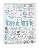 Personalized Wedding Custom Throw Blanket for Bride and Groom. Beautiful and Bright Blanket. (Grey - Light Blue)