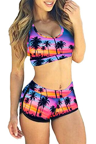 TOP HERE Women's Bandage Sporty Bathing Suit Boyleg Short Bikini Swimsuit Purple