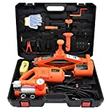 RUIXFEC Powerful Electric Car Floor Jack Set 3 Ton All-in-one Automatic 12v with Impact Wrench and Tire Inflator Pump for Tire Change & Replacement Efficient