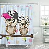 Cortina de ducha decorativa Adorable Dos búhos lindos de dibujos animados está sentado en la rama Animales Pico Gorra de pájaros Alegre Cortinas de baño resistentes al moho resistentes al agua Set con