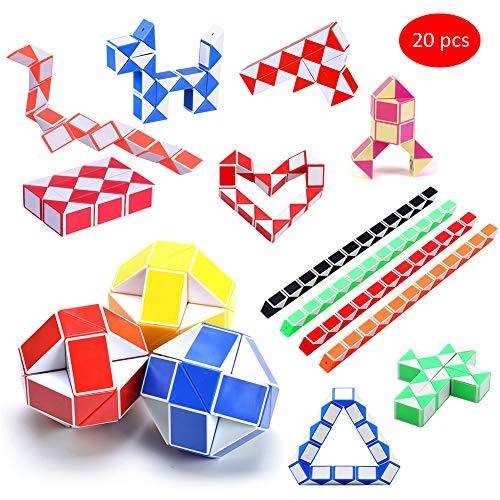Sunarrive 20 Pieza 24 Segmentos Cubo Serpiente Magica Juguete - Snake Cube - Piatas Fiesta Cumpleaos Regalos para Nios Infantiles