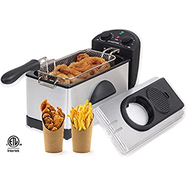 Gourmia GDF300 Compact Electric Restaurant Deep Fryer - 1 Basket - Dual Temperature and Timer Dials - 3L - 12 Cups - 2 ½ Lb Food Capacity - Anti-Odor - 1500W - Stainless Steel - Free E-Recipe Book