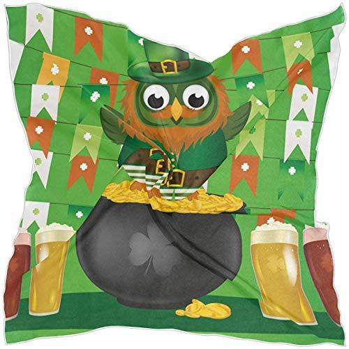 N/A Vrouwen Vierkante Sjaal St Patrick's Day Groene Uil Goud Pot Bier Zijde Feeling Haar Sjaal Wikkel Hoofddoek